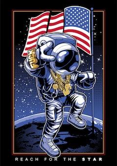 宇宙飛行士が月面着陸