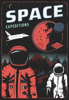 Astronauts on mars surface, space expedition retro poster