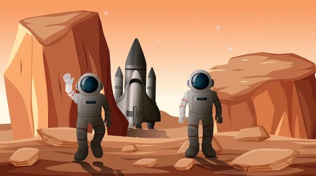 행성 장면에 우주 비행사