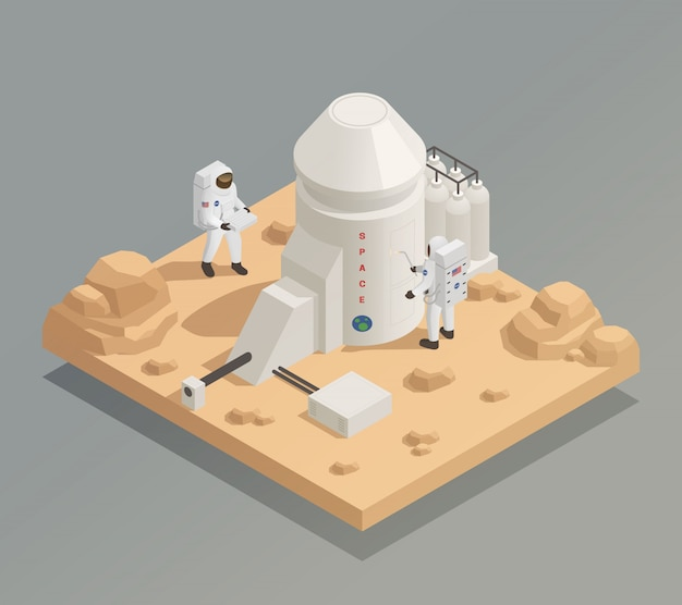Astronauts on planet isometric composition