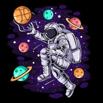 Астронавты играют в баскетбол в космосе, делая прыжки между планетами и звездами