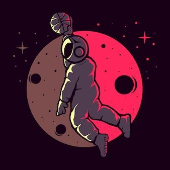 Космонавты играют в забавный баскетбол
