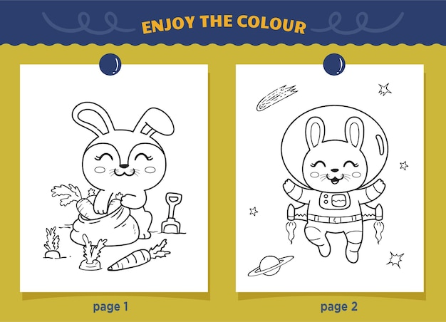 Astronauts rabbit and farmers rabbit coloring for kids