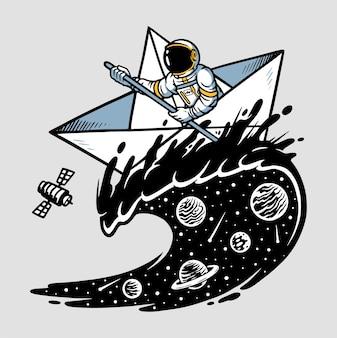 宇宙飛行士のセーリングイラスト