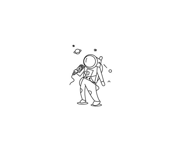 Певица астронавтов выполняет значок, плоскую линию искусства векторной иллюстрации.