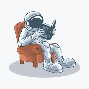 우주 비행사는 책을 읽는 의자에 앉아있다