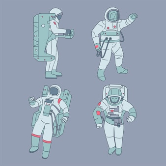 Astronauts in spacesuits. spacemen, cosmonauts with space equipment cartoon illustration.