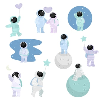 Astronauts in special spacesuits with different feelings   illustration