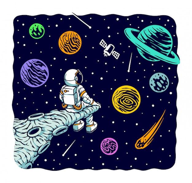 宇宙飛行士は空の図を見つめる