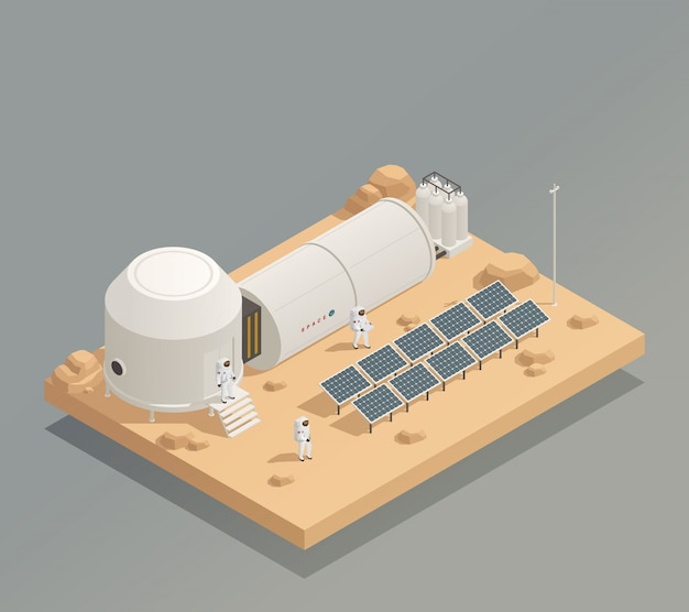 Astronauts sun panels isometric composition