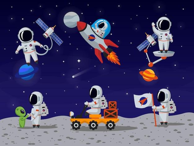 Набор векторных символов космонавтов в плоском мультяшном стиле. мультфильм космонавта, персонаж-космонавт, человек-космонавт, иллюстрация человека-космонавта