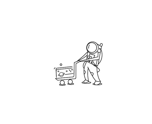 Астронавты с тележкой для покупок, плоская линия искусства векторной иллюстрации.