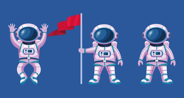 Космонавты с костюмами и символами флага иллюстрации