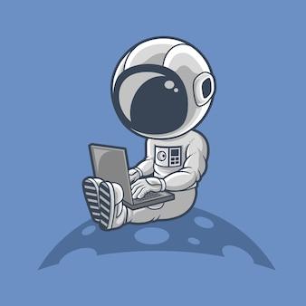 우주 비행사는 노트북에서 작동