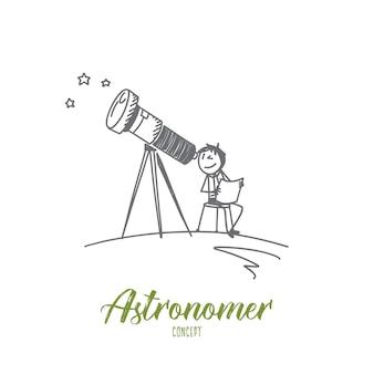 천문학 자 컨셉 일러스트