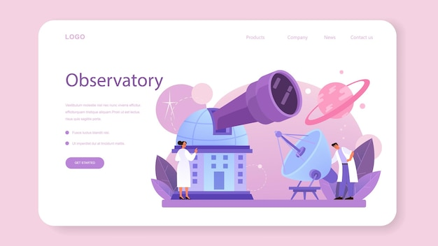Astronomer web banner or landing page. professional scientist looking through a telescope at the stars in observatory. astronomy research. astrophysicist study stars map.flat vector illustration