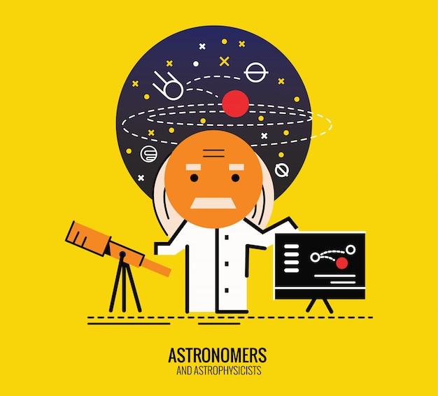 Астроном с рефракторным телескопом. плоский дизайн тонкой линии. векторные иллюстрации