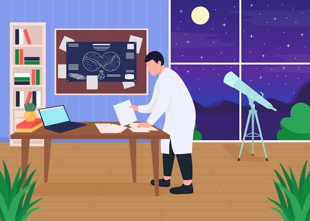 Astronomers workplace flat color illustration
