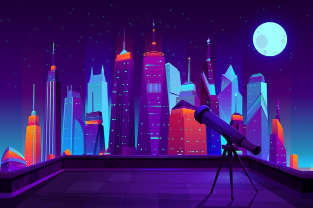 Astronomical observations in modern city cartoon  in neon colors.