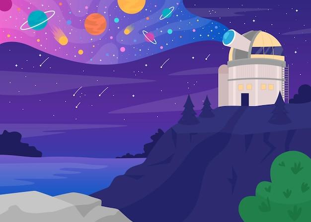 Astronomical observatory flat color illustration