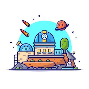 Телескоп астрономической обсерватории с иллюстрацией значка шаржа космоса планеты и метеорита.