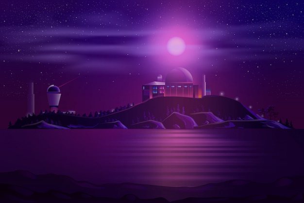 Astronomical observatory telescopes cartoon