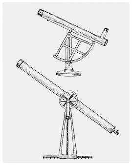Астрономический телескоп, винтаж, гравированная рука, нарисованная в стиле эскиза или дерева, старый, выглядящий ретро, научный инструмент для исследования и открытия