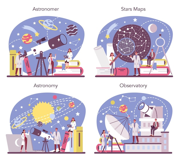 Astronomy and astronomer concept set. professional scientist looking through a telescope at the stars in observatory. astrophysicist study stars map. isolated vector illustration