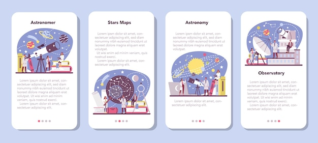 Astronomy and astronomer mobile application banner set.