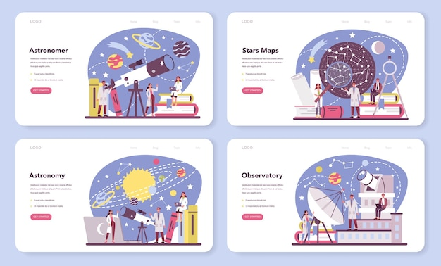 Astronomy and astronomer web banner or landing page set