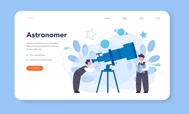 Astronomy and astronomer web banner or landing page