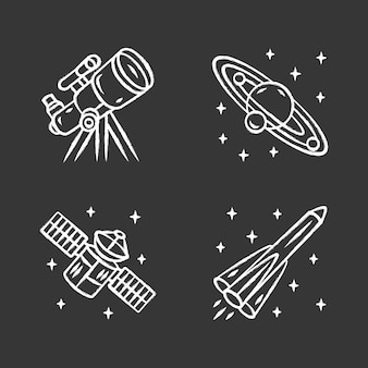 Astronomy chalk icons set