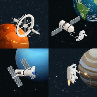 Astronomy design concept with astronauts station telescope in outer space isometric isolated