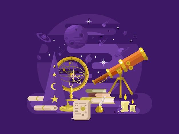 천문학 디자인 플랫. 레트로 과학, 점성술 악기, 스타 천문학, 일러스트레이션