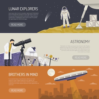 Astronomy flat horizontal banners