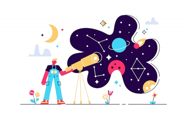 Astronomy illustration. flat tiny space research study person concept. explore stars and galaxy knowledge with telescope. horoscope zodiac education with astrology methods and science discovery