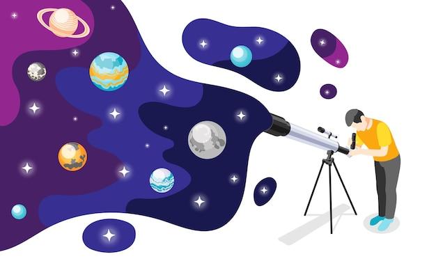 望遠鏡と宇宙惑星の星のイラストとカラフルなスポットを持つ男の画像と天文学の等角投影