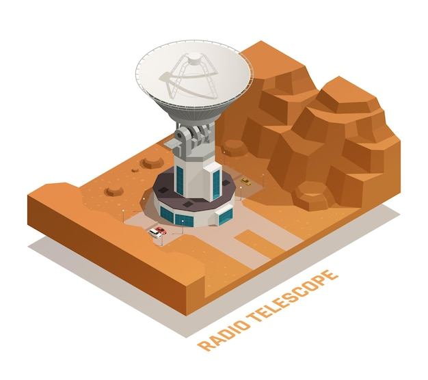 Astronomy isometric concept with 3d professional radio telescope of big size on roof of building