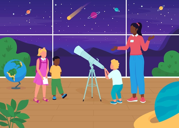 Astronomy lesson flat color illustration