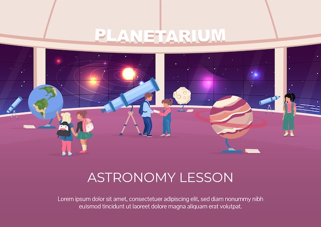 Astronomy lesson poster flat template. children visit museum about solar system. brochure, booklet one page concept design with cartoon characters.