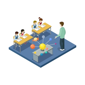 Astronomy lesson at school isometric illustration