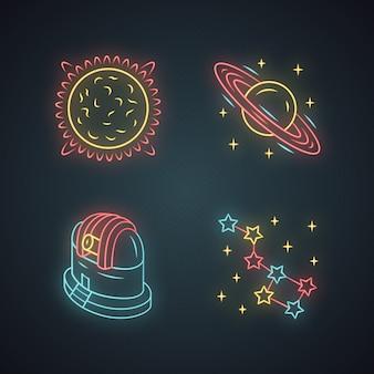Astronomy neon light icons set
