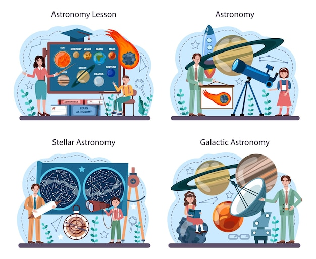 천문학 학교 과목 집합입니다. 망원경을 통해 보는 학생들