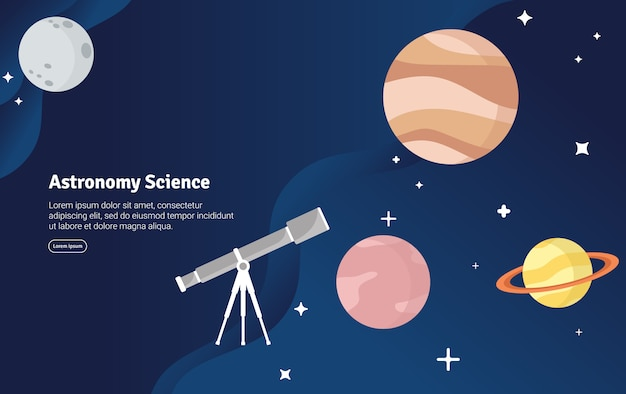 Astronomy science concept scientific illustration banner