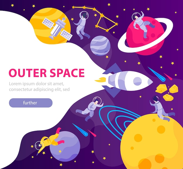 Astronomy space people flat banner