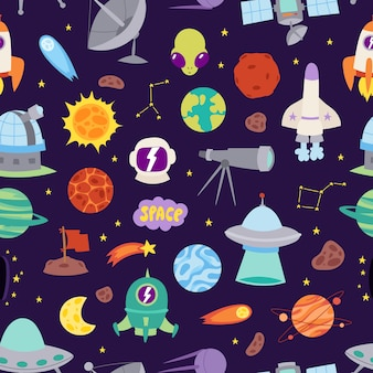 Astronomy space seamless pattern.