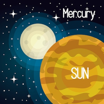 Astronomy sun system solar planets isolated