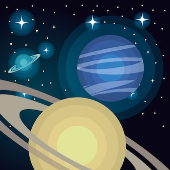 Astronomy system solar planets isolated