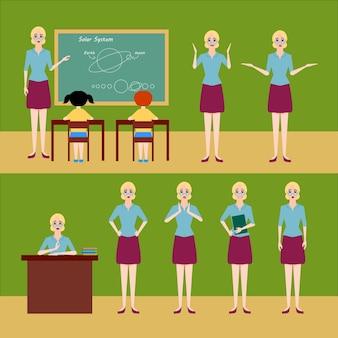 천문학 교사 벡터 세트 일러스트레이션, 다양한 감정을 가진 다양한 포즈로, 칠판 근처 교실에서 학생들을 가르치고, 테이블에 앉아 있는 캐릭터