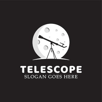 Astronomy telescope with planet or moon logo illustration vector template